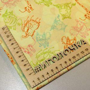 Курточная ткань дюспо pu/ wr /milky Animal contour