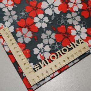 Курточная ткань дюспо pu/ wr /milky Полевые цветы/серый