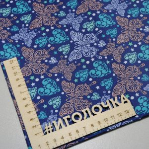 Курточная ткань дюспо pu/ wr/ milky Веселые бабочки/синий